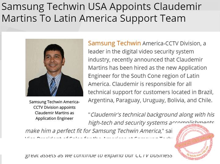 Claudemir Martins hired by Samsung Techwin America