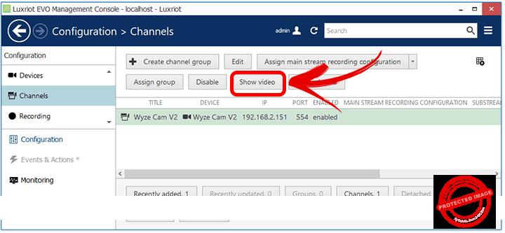 Luxriot Configuration Devices Wyze Cam Channel