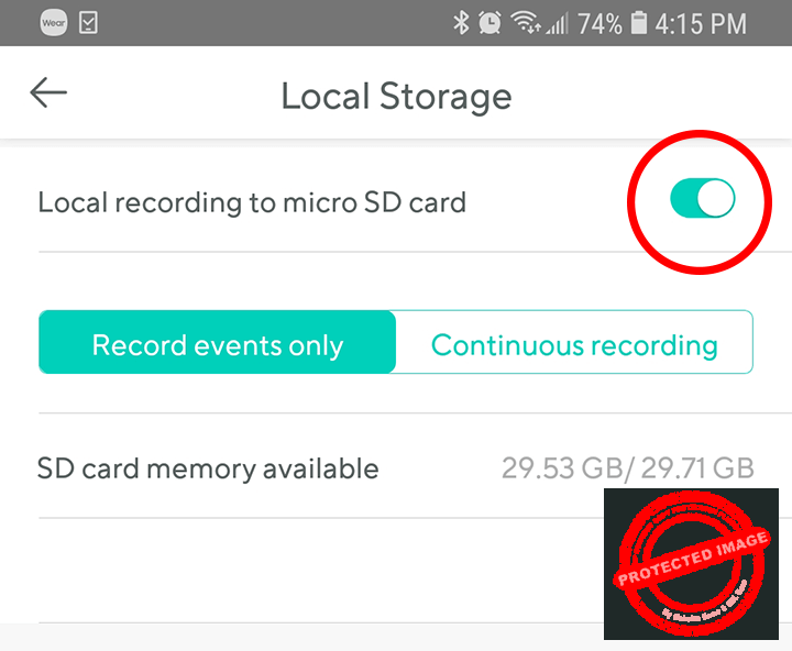 SD Card info in the Wyze Cam