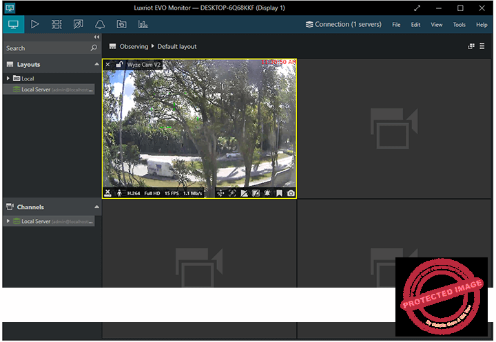 Wyze Cam live on the Luxriot Evo Monitor