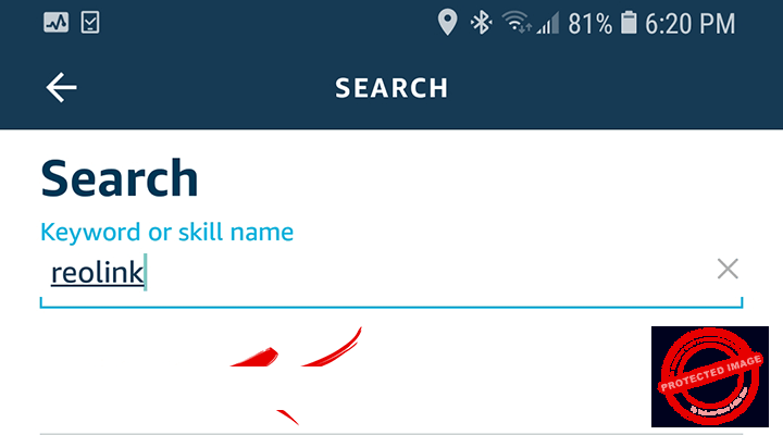 Search for Reolink Skill on Alexa
