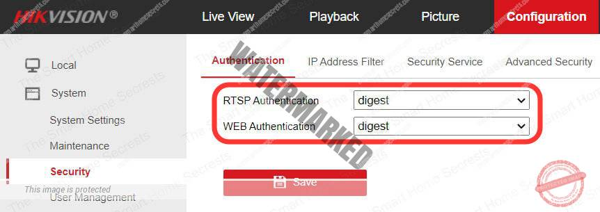 Hikvision camera RTSP and Web Authentication digest