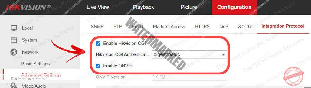 Hikvision camera enable ONVIF and CGI