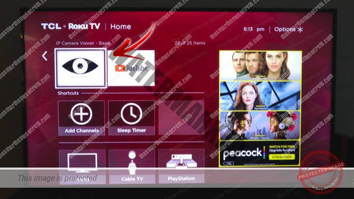IP Camera Viewer Installed On a Roku TV