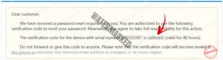 Password recovery email verification code valid for 48 hours