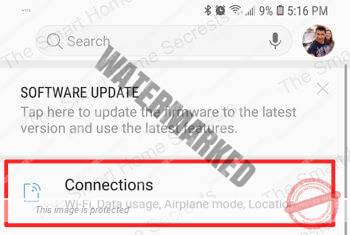 Android Smartphone connections menu