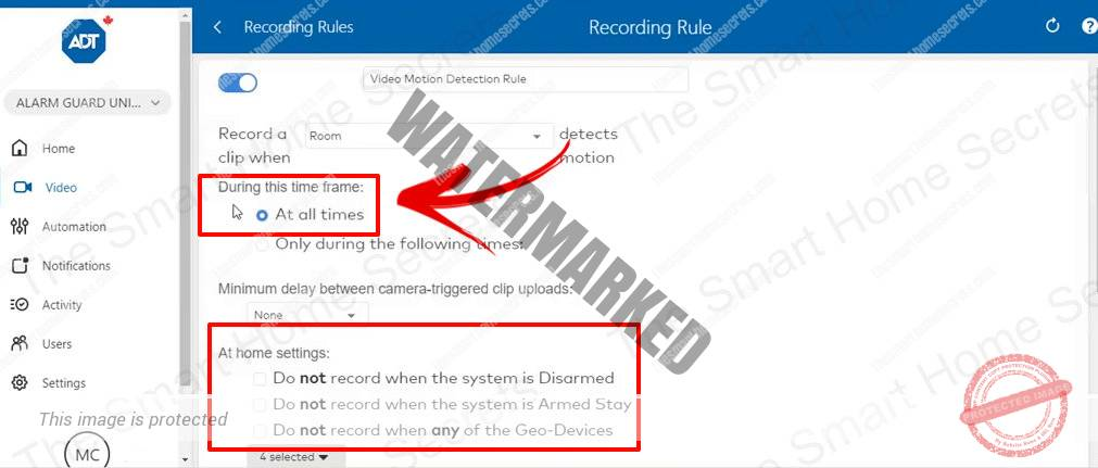 ADT Recording Rules recording all the time