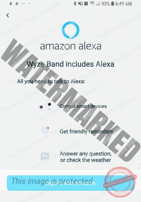 Wyze Band Sign in with Amazon button