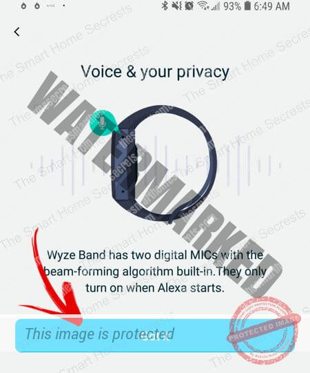 Wyze Band Voice and Privacy Message
