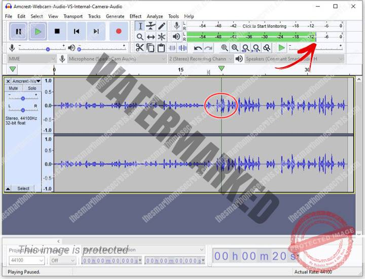 Internal webcam audio wave