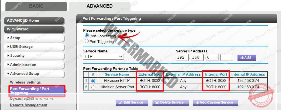 Port Forwarding menu on a Netgear router