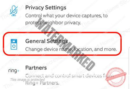 Ring App General Settings