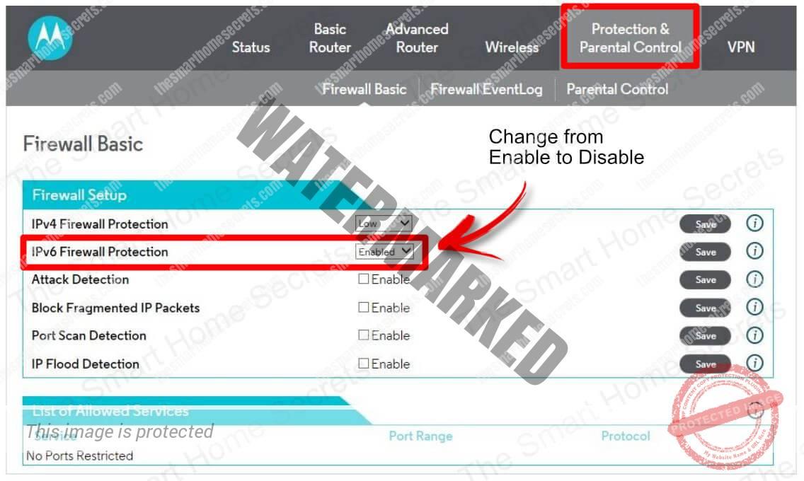 Motorola IPV4 and IPV6 Protection
