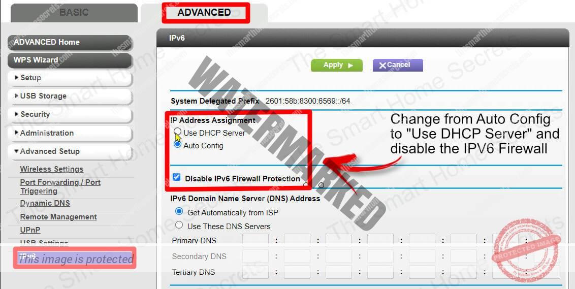 Netgear IPv6 Menu Disable Firewall