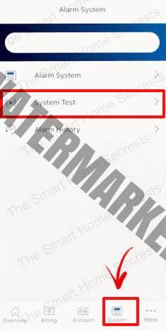 ADT start test mode via app