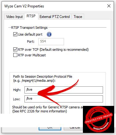 RTSP parameter for the Wyze Cam