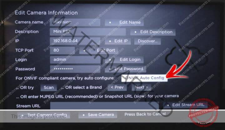 IP Camera Viewer ONVIF Auto Config Button