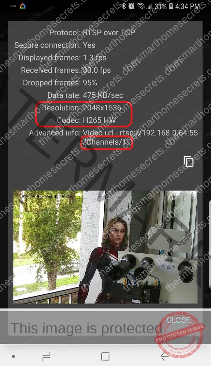 TinyCam App Displays Hikvision Camera