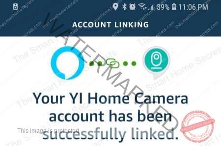 Yi Account and Alexa Linked Successfully