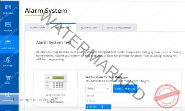 ADT Alarm System portal