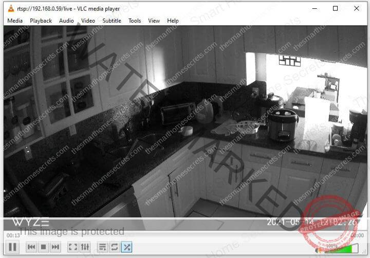 Wyze Cam Live in the VLC software